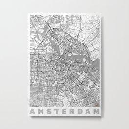 Amsterdam Map Line Metal Print