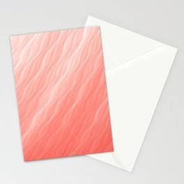 Living Coral Wavy Ombre Pattern Stationery Cards
