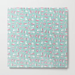 Pink Campers on Aqua Metal Print