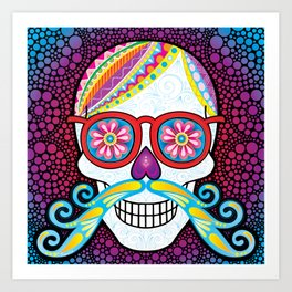 Sugar Skull (Mustachio) Art Print