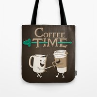 ed sheeran Tote Bags featuring Coffee Time! by powerpig