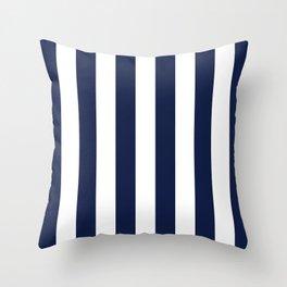 Navy Blue Bold Vertical Stripe Line Minimal Stripes Lines Throw Pillow