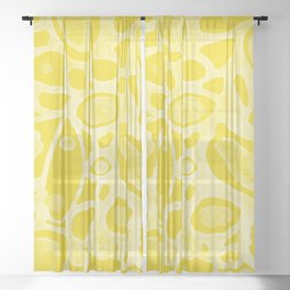 Calming Lemon Yellow Abstract Sheer Curtain
