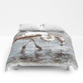 Knee Deep Flamingo Watercolor Comforters