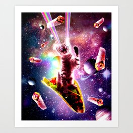 Outer Space Taco Cat - Rainbow Laser Eyes, Burrito Art Print