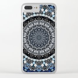 Dark Blue Grey Mandala Design Clear iPhone Case