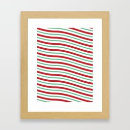 Red White and Green Christmas Candy Cane Pattern Framed Art Print