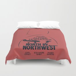 North by Northwest, Alfred Hitchcock, minimal movie poster, classic film, Cary Grant, alternative Duvet Cover