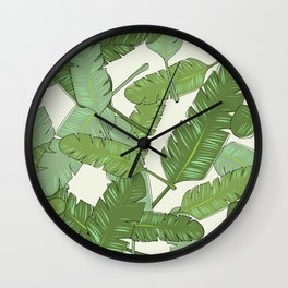 Banana Leaf Print Wall Clock