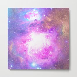 Colorful Pastel Pink Nebula Purple Galaxy Stars Metal Print