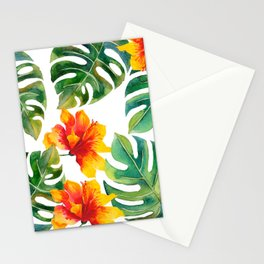 Monstera And Hibiscus Stationery Cards