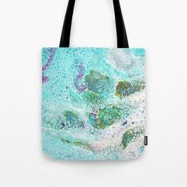 Abstract contemporary painting, aerial view of the ocean and its coral reef Tote Bag