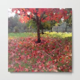 Oil crayon illustration of a red maple tree in the Boston Public Garden Metal Print