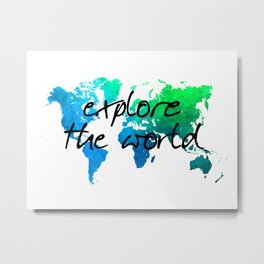 world map 124 explore the world #map #worldmap Metal Print
