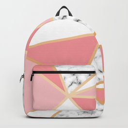 Dusty Pink, Peach, White and Marble Triangles Backpack