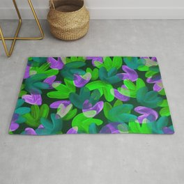 Vibrant Acrylic Painting Layered Tulips Floral Pattern Multi Colors Neon Purple Green Rug