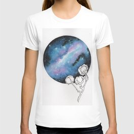 """""""Cotton Candy Galaxy"""" watercolor with pen drawn cotton T-shirt"""