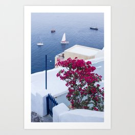 Santorini, Greece all Blue and White Art Print