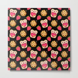 Cute funny sweet adorable happy Kawaii toast with raspberry jam and butter, chocolate chip cookies and red ripe summer strawberries cartoon fantasy black pattern design Metal Print