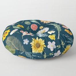 vintage flower illustration navy Floor Pillow