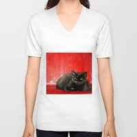 sofa V-neck T-shirts featuring cat on red sofa by ANArt