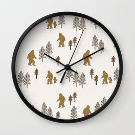 Sasquatch forest woodland mythic animal nature pattern cute kids design forest Wall Clock