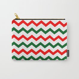 Trendy Christmas Green Red Chevrons Pattern Stripes Carry-All Pouch