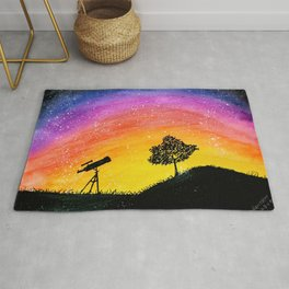 Telescope and tree silhouette on multicolored sunset sky watercolor Rug