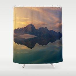 Fantasy mountain reflection Shower Curtain