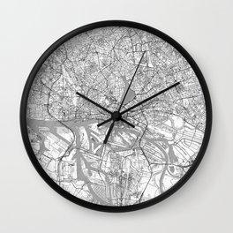 Hamburg Map Line Wall Clock