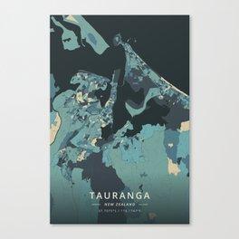 Tauranga, New Zealand - Cream Blue Canvas Print