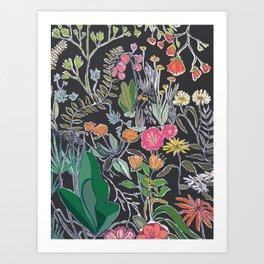 Summer Garden at Midnight Art Print