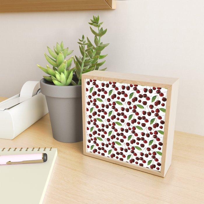 Cherries on White Background Framed Mini Art Print