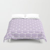 macaroon Duvet Covers featuring Purple Macaroon Pattern - Lavender Macaron by French Macaron Art Print and Decor Store