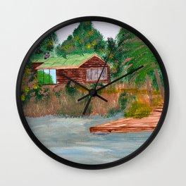Cabin on Palmer Lake, British Columbia Wall Clock
