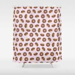 Chocolate Donuts on Pink Shower Curtain
