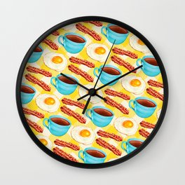 Coffee, Bacon & Eggs Pattern - Yellow Check Wall Clock