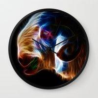 ram Wall Clocks featuring Ram by Veronika