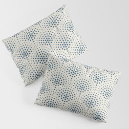 Blue Polka Dot Scallop Pattern on Linen White Pairs To 2020 Color of the Year Chinese Porcelain Pillow Sham