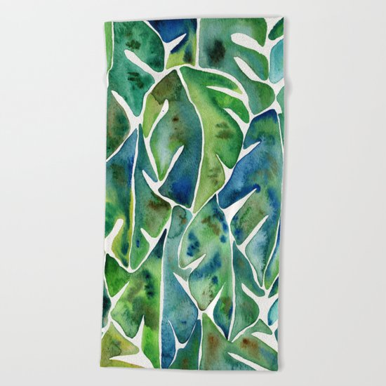 Split Leaf Philodendron – Green Beach Towel
