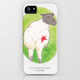Haruki Murakami's A Wild Sheep Chase // Illustration of a Sheep with a Red Star in Watercolour iPhone Case