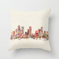 denver Throw Pillows featuring denver colorado by bri.buckley