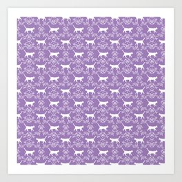 Cat florals floral silhouette pet portrait cat art cat lady purple and white Art Print