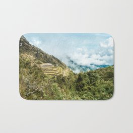 Lost City | Landscape Photography of Historical Incan City with Terraces in Peru Mountains Bath Mat
