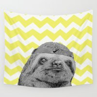 sloth Wall Tapestries featuring Sloth by Emily Jane Illustrations