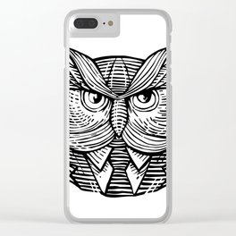Hip Wise Owl Suit Woodcut Clear iPhone Case
