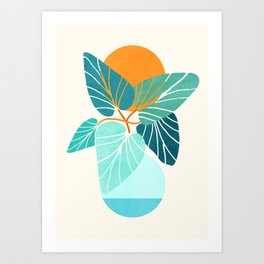 Tropical Symmetry / Retro Aqua Orange Palette Art Print