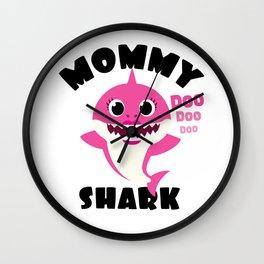 Mommy Shark Baby Shark Design Wall Clock