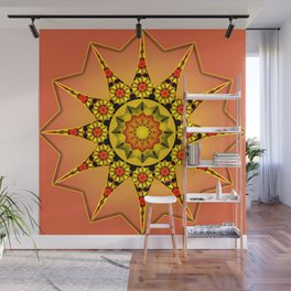 Coral sunflower abstract Wall Mural