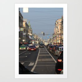 Cars traffic on Nevsky Prospect Art Print